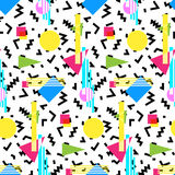 Seamless geometric vintage pattern in retro 80s style, memphis. Ideal for fabric design, paper print and website backdrop. EPS10 vector file Stock Photography