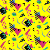 Seamless geometric vintage pattern in retro 80s style, memphis. Ideal for fabric design, paper print and website backdrop. EPS10 vector file Stock Photos