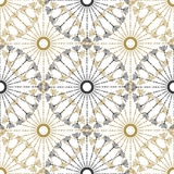Seamless geometric vintage pattern. Vector black and gold circle retro texture. Royalty Free Stock Photos