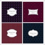 Seamless geometric vintage patterns with frame. Set of seamless geometric colorful patterns with vintage frames. Vector illustration Royalty Free Stock Images