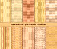 10 seamless geometric wavy patterns in autumn colors Stock Photography