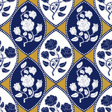 Seamless geometrical damask pattern with Art Nouveau motifs. Stock Photography