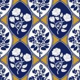 Seamless geometrical damask pattern with Art Nouveau motifs. Royalty Free Stock Image