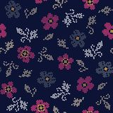 Seamless geometrical flower pattern on navy. Seamless pink flower geometrical flower pattern on navy background stock illustration