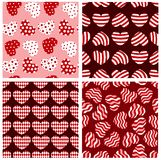 Seamless geometrical hearts. Four seamless geometrical hearts pattern. Vector background Stock Image