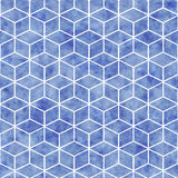 Seamless geometrical pattern with blue watercolor texture Stock Images
