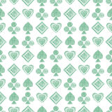 Seamless  geometrical pattern with icons of playing cards. background with hand drawn textured geometric figures. Pastel Gra Royalty Free Stock Photography