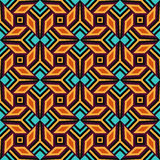 Seamless geometrical pattern of orange, violet, blue and black shades Stock Photography