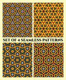 Seamless geometrical patterns of red, yellow, grey, blue and black shades Stock Photo