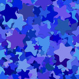 Seamless geometrical star background pattern - vector design from blue rounded pentagram stars Royalty Free Stock Photos