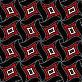 seamless geometrisk modell Röda och vita beståndsdelar på svart bakgrund