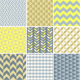 Seamless geometry background collection. Seamless patterns set - simple geometry Stock Photo