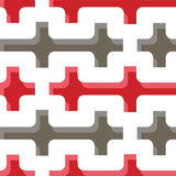 Seamless geometry pattern. With gray and red crosses stock illustration
