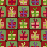 Seamless gift box pattern. Brightly colored seamless pattern background with gift boxes Royalty Free Stock Image