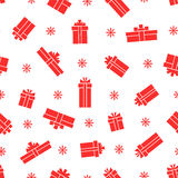 Seamless gift box pattern, red gift boxes on white background Royalty Free Stock Images