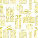 Seamless gift boxes pattern Stock Images