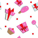 Seamless of gift boxes and sweets Royalty Free Stock Images