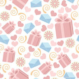 Seamless gift pattern. Seamless pattern made of falling gift boxes, envelopes, hearts on white background Royalty Free Stock Images