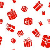 Seamless  Gift pattern, red gift boxes on white Stock Photo
