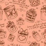 Seamless gift present boxes pattern Stock Images