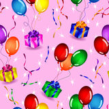 Seamless gifts and balloons pattern Royalty Free Stock Images