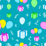 Seamless gifts on balloons. Seamless texture with gift boxes on balloons Stock Images