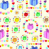 Seamless gifts in flowers Stock Photo