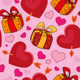 Seamless gifts and hearts Stock Images