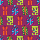 Seamless gifts pattern. Hand drawn gift boxes in a seamless wallpaper background Royalty Free Stock Photography