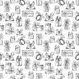 Seamless gifts pattern. Royalty Free Stock Images