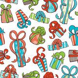 Seamless gifts pattern. Various hand-drawn gifts on white background. Boundless texture can be used for web page backgrounds, wallpapers, wrapping papers Royalty Free Stock Photos