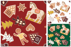 Seamless gingerbread pattern Royalty Free Stock Photos