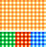Seamless gingham checked patterns of autumn colors Stock Image