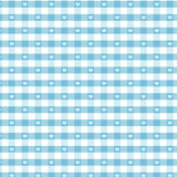 Seamless Gingham & Hearts, Pastel Aqua Stock Photo