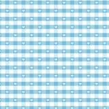 Seamless Gingham & Hearts, Pastel Aqua Stock Photo