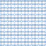 Seamless Gingham & Hearts, Pastel Blue. Gingham pattern with hearts in pastel blue and white for scrapbooks, arts, crafts, fabrics, and decorating. EPS file Stock Photo
