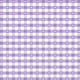 Gingham and Hearts Seamless Background, Pastel Lavender stock illustration