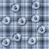 Seamless gingham pattern with circular elements Stock Photo