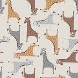 Seamless giraffe cartoon pattern Stock Photo