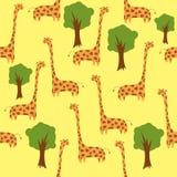 Seamless giraffes. Seamless cute giraffes and trees background Stock Photography