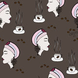 Seamless with girl which smells the aroma of coffee. On the brown background Royalty Free Stock Photo