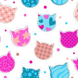 Seamless girlish pattern with cats silhouettes Stock Photos