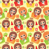 Seamless girls pattern. Royalty Free Stock Photos