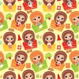 Seamless girls pattern. Royalty Free Stock Photos