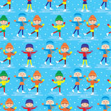 Seamless girls on a skating rink pattern Stock Photos