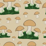 Seamless glades of mushrooms Royalty Free Stock Photos