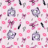 Seamless glamour fashion pattern in pink color. Seamless glamour fashion pattern with cologne perfume, bows, lipsticks in hand drawn style Stock Photo