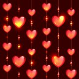 Seamless glass beads and hearts on black Stock Image