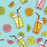 Seamless with glasses of juice and fruits vector illustration