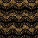Seamless glitter golden ornament pattern Stock Image